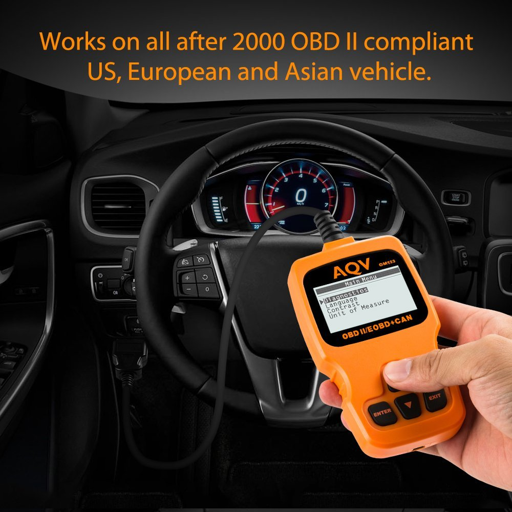 AQV OBD2 Scanner Car Vehicle Engine Code Reader, Auto Diagnostic Scanner Tool for 2000 or Later Compliant US, European and Asian Vehicles(Orange)